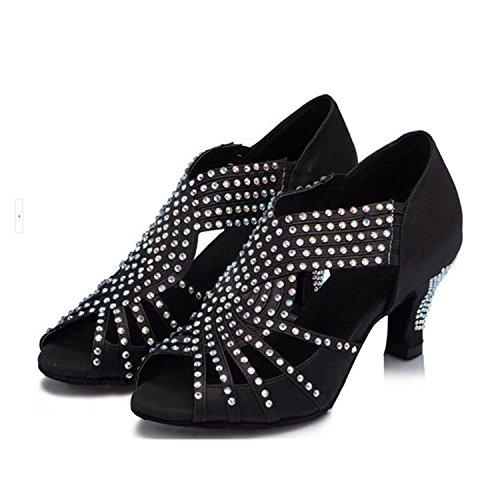 Yff Cadeau Femmes Chaussures De Danse Latin Danse De Salon Chaussures De Danse Tango 7.5cm Noir