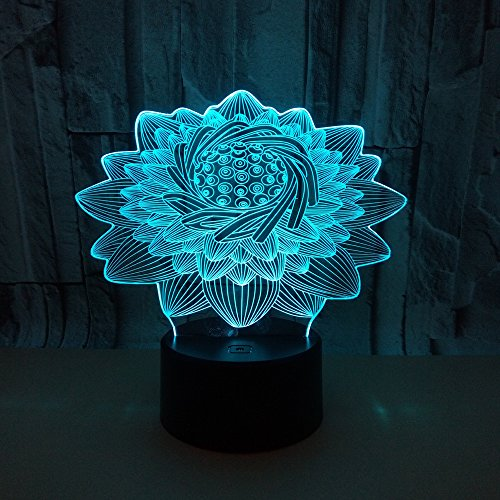 SQL 3D Lotus Night Light LED Touch Remote Control Acrylic Lamp (Remote Control Wall Plate)
