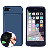 REDGO iPhone 6 6s 7 Smart Battery Charger Case, 4500mah External Battery Case Silicone, Slim Lightweight Backup Power Bank Case, Silicone Back Cover Case, Blue/Gray