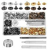 Mandala Crafts Druckknopf-Set mit Nieten-Setter, Leder, röhrenförmig, Metall, mit Druckknöpfen, Gold Silver Antique Bronze Gunmetal Snap Buttons, 12.5mm
