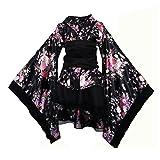 OULII - Kimono tradicional japonés para disfraz de Maid (talla XXXL), color negro