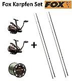 Fox Karpfen Set - 2 Karpfenruten 12ft 3lbs + 2 Freilaufrollen + Schnur, Angeln auf Karpfen, Karpfenset, Angelruten für das Karpfenangeln