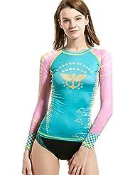 Combinaison UV Gilet, plongée et voile manches longues protection solaire pour Rashguard Chemise pour femme Sports
