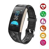 Fitness Tracker, Monitor battito cardiaco Bluetooth con monitor della pressione sanguigna Monitor del sonno Wristband Compatibile iPhone Samsung Cellulari Android per uomini Donne Bambini (Nero)