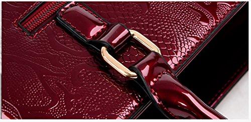 Borsa A Tracolla In Pelle Verniciata Con Tracolla Donna Yan, Colore Bordeaux Blu Scuro