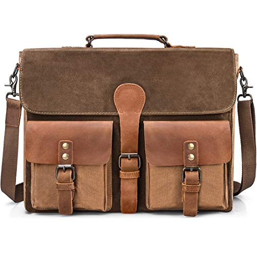 NEWHEY Umhängetaschen Aktentasche Herren 15.6 Zoll Wasserdicht Vintage Laptoptasche Messenger Bag Arbeitstasche Notebook Büro Leder Braun (Side Bag Laptop)
