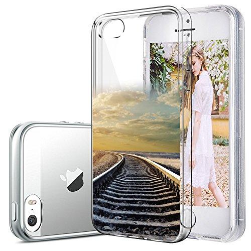 iPhone 5/5s/SE hülle vanki® Tasten Strand Schutzhülle Clear Case Cover Bumper TPU Silikon Durchsichtig Handyhülle für iPhone 5/5s/SE (color1) Railway