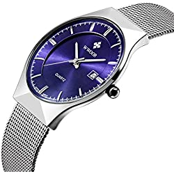 Affute Fashion Mens Watch Mesh Band Japanese Analog Quartz Movt Thin Dial Date Wrist Watches,Blue