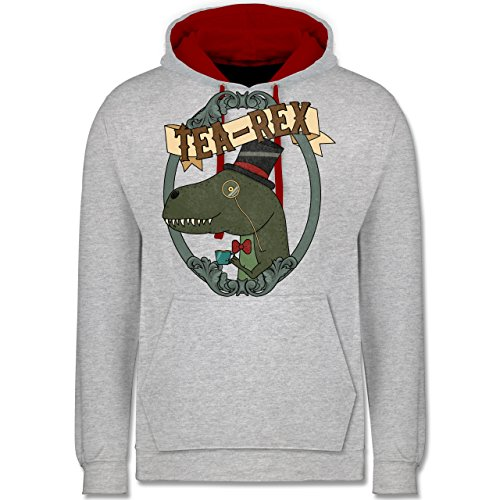 Comic Shirts - Tea-Rex - Kontrast Hoodie Grau Meliert/Rot