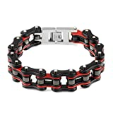 Yorwell Herren Armband Edelstahl Armband Fahrradkette Armreif Herren Rot Schwarz Armband motorradkette Schmuck Herren Mit Geschenkscha - 2