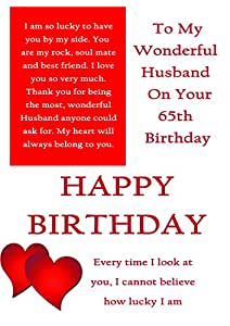 Husband 65th Birthday Card With Removable Laminate Amazoncouk