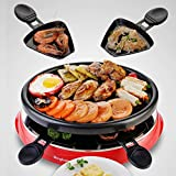 FOOD Art Barbecue Griddle Plate Table Grill Plate Non-Stick Cooking Surface with Adjustable Temperature for 2-3 People 900W