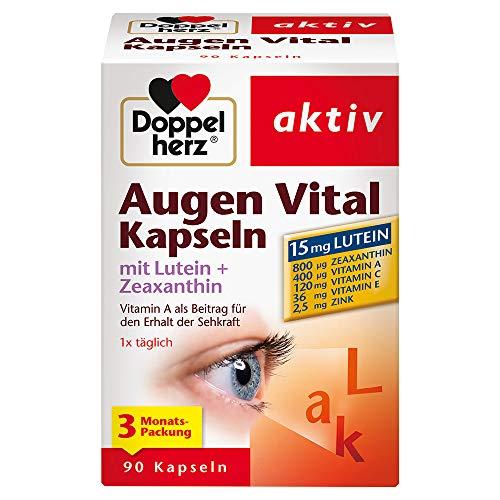 Doppelherz Augen Vital Kapseln mit Lutein + Zeaxanthin/3-Monats-Packung/Nahrungsergänzungsmittel mit Vitamin A und Zink als Beitrag für den Erhalt der Sehkraft – plus Vitamin C & E / 1 x 90 Kapseln