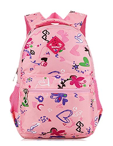 Keshi Niedlich Schulrucksäcke/Rucksack Damen/Mädchen Vintage Schule Rucksäcke mit Moderner Streifen für Teens Jungen Studenten Pink