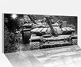 Acrylglasbild 100x40cm schwarz weiss T90 Tank Panzer Krieg Waffe Kanone Acrylbild Acryl Druck Acrylglas Acrylglasbilder 14A9085, Acrylglas Größe1:100cmx40cm