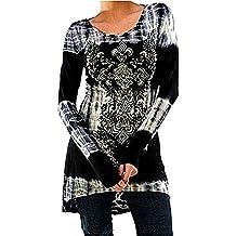 Inlefen Blusas Tallas Grandes Camisetas Góticas Vestidos Vintage Impreso Jersey Largo Cuello Redondo Blusas Manga Larga