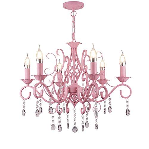 PIAOLING European Crystal Candlestick Hängelampen, warme Kinderzimmer Prinzessin Zimmer Restaurant Wohnzimmer Home Kronleuchter, Hochzeit Dekoration Kronleuchter (Color : Pink) -