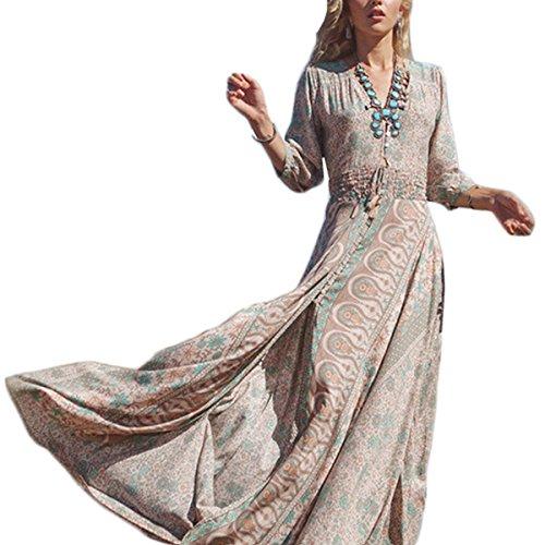 Tomayth Damen Sommerkleid 3/4-Arm Chiffon Kleider Boho Floral Druck kleider Strandkleid Maxikleid...