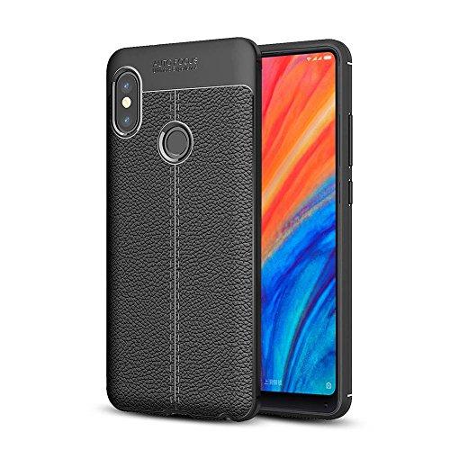 Xiaomi Mi Mix 2s Hülle, TopACE Slim PU Weiches Leder Stoßsicheres Gehäuse Flexiblem TPU Silikon Hybrid Schutzhülle Tasche Slim-Fit Case für Xiaomi Mi Mix 2s (Schwarz)