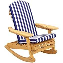 Garden Patio Adirondack Rocking Armchair in Natural Solid Wood | Comfortable Curved Back | Perfect for Indoor or Outdoor Use!