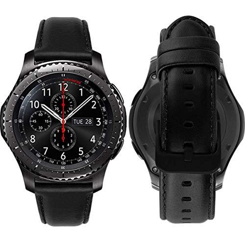 Gear s3 Armband Leder Vintage Lederarmband Galaxy Watch 46mm Uhrenarmband 22mm Echtes Lederband kompatibel für Samsung Gear S3 Frontier Classic, Huawei Watch 2 Classic / Huawei GT Bracelet- Schwarz - Notifier Für Martian Uhrenarmband