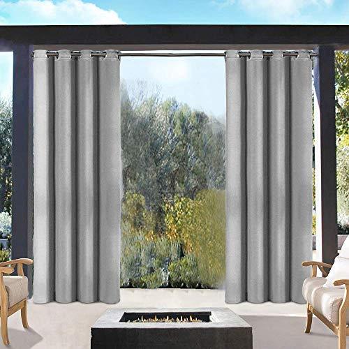 DOMDIL Outdoor Vorhänge Gartenlauben Balkon-Vorhänge Gardinen Verdunkelungsvorhänge mit Ösen, Vorhang Wasserdicht Mehltau beständig, Pavillon Strandhaus, 1 Stück (132 * 215cm) grau