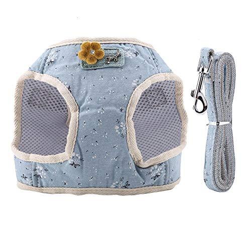 Pssopp Hundegeschirr und Leine Set Atmungsaktive Baumwollmischung Haustier Hund Brustgeschirr Hundegeschirr Weste und Hundeleine Katze Hund Brustgurt Geschirr für Walking Laufen Training(Blau S)
