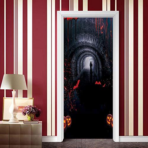 3D Tür Aufkleber Wandaufkleber Wandbild Fotos Bad Schlafzimmer Bürozimmer Kreative Selbstklebende Dekoration 77X200 Cm (Kreative Lustige Halloween) (Hund Halloween-fotos Lustige)