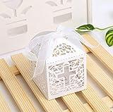 Musuntas 50Tlg.Vogelkäfig-Entwurf Hochzeit Taufe Gastgeschenk Geschenkbox Kartonage Schachtel Tischdeko Bonboniere Box Hochzeit Dekoration Baby Shower Bonboniere Box(white) - 4
