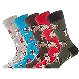 YANGTE 5 Pares Calcetines de Vestir para Hombre, Colorido Novedad Diseño Divertido Peinada Algodón Crew Pack de Calcetines Unisex