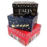 Les Trésors De Lily P5718 - Set von 3 nistkästen 'Noël A Paris' rot blau schwarz - 18.5x9 cm.