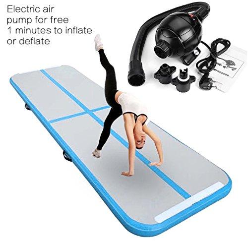 Aufblasbar Gymnastik Tumbling Matte Air Track Weichbodenmatte mit 800W Europlug Elektrisch Luftpumpe für Zuhause, Cheerleading, Strand, Park und Wasser -inklusive Steuer(118