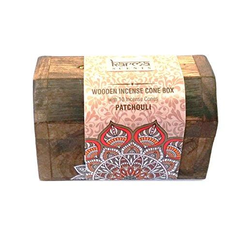 Juego de regalo de conos de incienso y pequeña caja de madera–Fragancias para el hogar de...