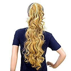SWACC 24-Inch Long Messy Curls Claw Clip Ponytail Extensions Synthetic Clip in Drawstring Curly Ponytail Hairpiece Jaw Clip Hair Extensions (Blonde Mixed-27H613)