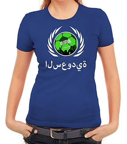 ShirtStreet Wappen Soccer Fussball WM Fanfest Gruppen Fan Wappen Damen T-Shirt Fußball Saudi-Arabien Royal Blau