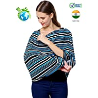 Feather Hug Women's 360 Degree Nursing Cover/Cloak/Poncho/Scarf/Wrap/ Canopy/Shawl/Apron/Poplin for Breastfeeding (Blue Black Stripes, Free size)