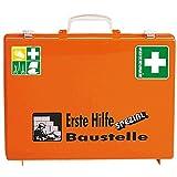 SÖHNGEN Erste-Hilfe-Koffer Baustelle, Wandhalterung, orange, ASR A4.3/DIN 13157, mit PRÜFPLAKETTE