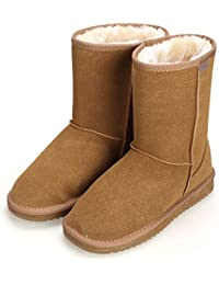 CRAVOG Frauen flache Lace Up Pelz gefütterte Winter Martin Stiefel Schnee Stiefeletten Schuhe u8c0ULn