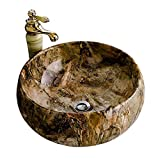 SEEKSUNGM Waschbecken, Bad Waschbecken, Runde Imitation Marmor Keramik Spüle, Europäische Haushalts Waschraum Kunst Spüle, Größe: 44 * 41 * 16Cm