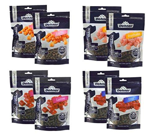 Dehner Premium Hundesnack-Mix, je 2 x Lachs, Truthahn, Ente und Lamm, 8 x 140 g (1120 g)