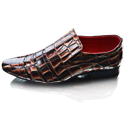 Smart Cover en cuir pour homme Noir/Marron Fashion Line-Croc-dérapant sur l'apprentissage formel Lacets plats pour chaussures Taille 7, 8, 9, 10 11 - Brown Croc Slip On