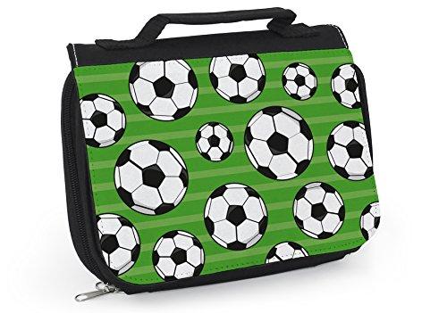 Kulturbeutel Junge - Coole Waschtasche Fussball - Geschenk für - Waschbeutel zum aufhängen - Tasche für Männer - Kulturbeutel Männer - Schicke Tasche für Badutensilien - Waschbeutel - WT016