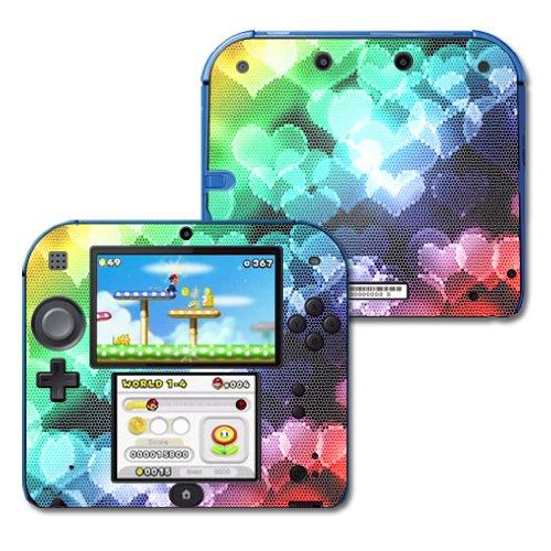 mightyskins Vinyl Schützende Haut Aufkleber für Nintendo 2DS Wrap Aufkleber Skins Colorful Hearts