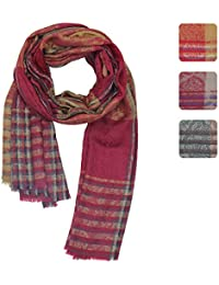 b11e76295ebe4 KASHFAB Kashmir Womens Mens Winter Fashion Paisely Scarf, Jacquard Wool  Silk Stole, Soft Long