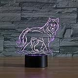 Jinson well 3D wolf Nachtlicht Lampe optische Nacht licht Illusion 7 Farbwechsel Touch Switch Tisch Schreibtisch Dekoration Lampen perfekte Weihnachtsgeschenk mit Acryl Flat ABS Base USB Kabel kreatives Spielzeug