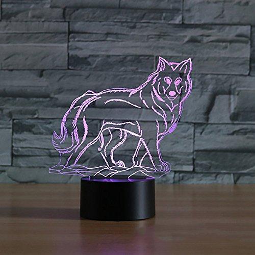 Jinson well 3D wolf Nachtlicht Lampe optische Nacht licht Illusion 7 Farbwechsel Touch Switch Tisch Schreibtisch Dekoration Lampen perfekte Weihnachtsgeschenk mit Acryl Flat ABS Base USB Kabel kreatives Spielzeug (Spiel-tisch-lampe)