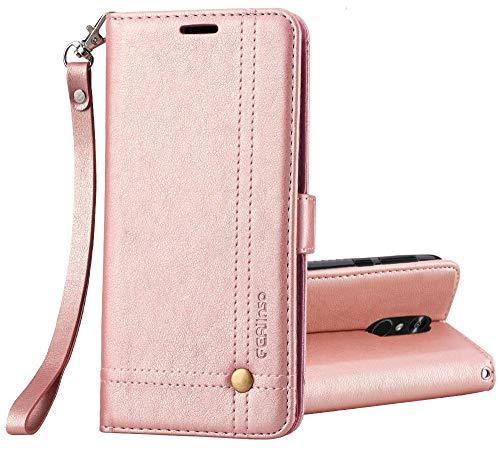 Ferilinso LG Q7/ LG Q7 Plus/LG Q7α Hülle, Elegantes Retro Leder mit Identifikation Kreditkarte Schlitz Halter Schlag Abdeckungs Standplatz magnetischer Verschluss Kasten für(Roségold)