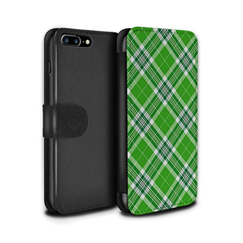 Stuff4 Coque/Etui/Housse Cuir PU Case/Cover pour Apple iPhone 8 Plus / Bleu Clair Design / Tartan Pique-Nique Motif Collection Vert