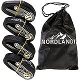 Sangle Sangle d'arrimage Set 4pièce de nordlandttm–Longueur 4m–noir–Sangles à cliquet