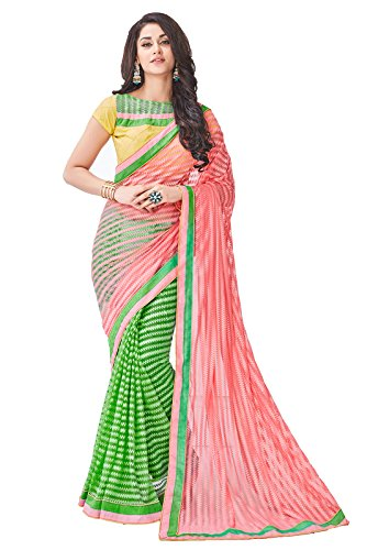 Salmon & bud green designer net embroidered half n half saree